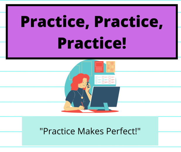 "A girl working on the computer with the words ""practice makes perfect!"""